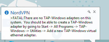 Tap-windows adapter error